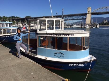 Getting on cute False Creek Ferry
