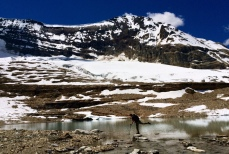 Glacier and lake, with Philippe posing