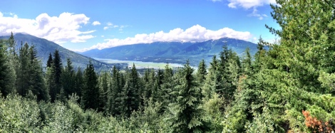 Looking down the Columbia River and the town of Revelstoke