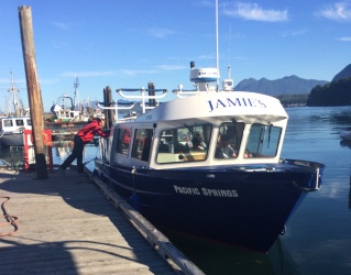 Getting on the boat at the Tofino Harbour
