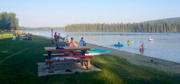 Families enjoying paddling