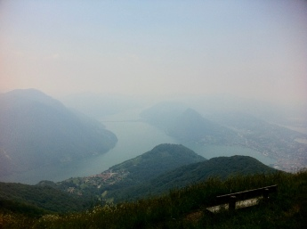 A view at the top - very, very hazy. The front is Mont Bré.