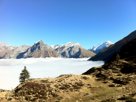 Engelberg Valley is deep in the fog