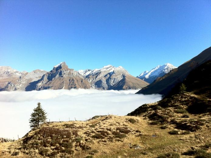 Engelberg Valley is deep in the fog