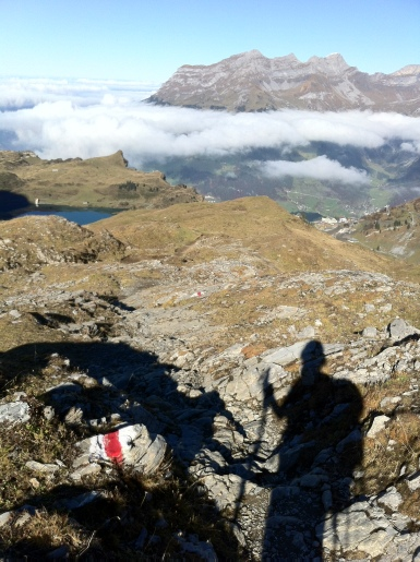 Heading for Jochpass, looking down the Trüb Lake