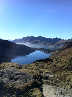 Going over the Jochpass, now another shining lake ahead