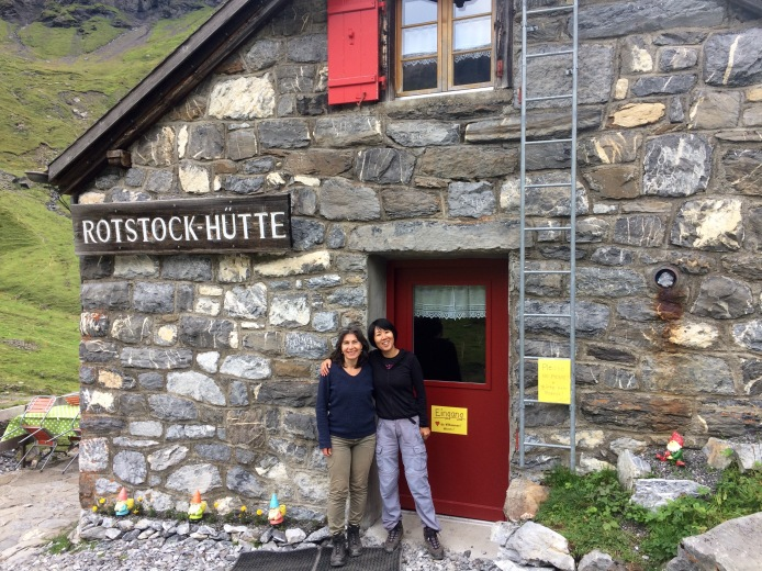 With Caroline in front of rustic mountain hut Rotstockhütte