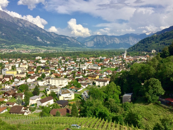 Looking down the town of Bad Ragaz