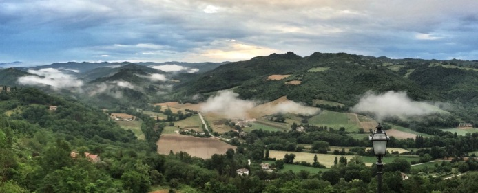 The view from the restaurant L'Antica Osteria in Montone...