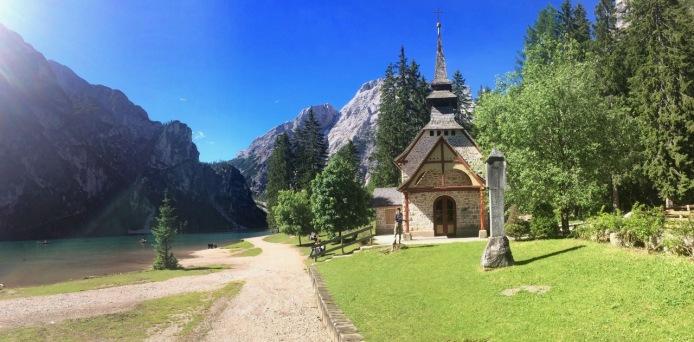 A quaint church at the lakeside