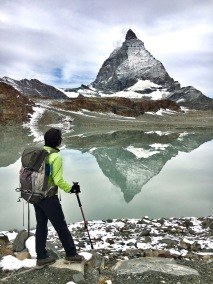 Matterhorn is reflected in the lake.