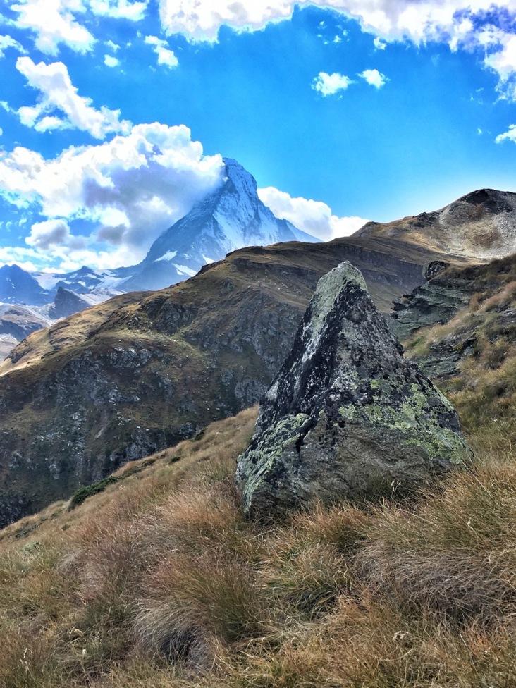 A Matterhorn-like rock with real Matterhorn in the back!