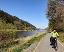 Yasuko on the bike