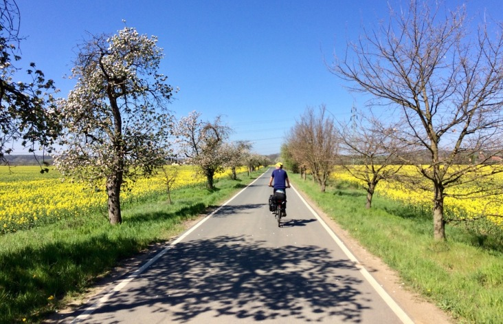 Biking away under the blue sky