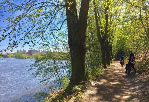 A narrow rough bike path