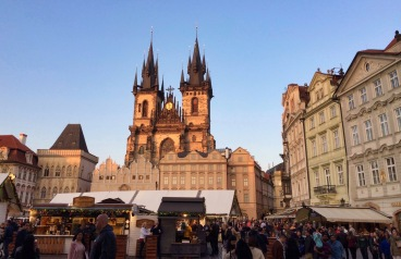 A beautiful city square in Prague in the evening light