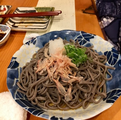 Soba noodle with ginger and fish flakes