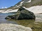 Matterhorn-like rock in the lake