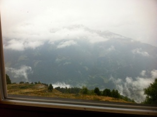 A view from Weisshorn restaurant. Tasty risotto warmed my cold body.