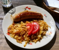 A typical mountain food, Rösti and sausage