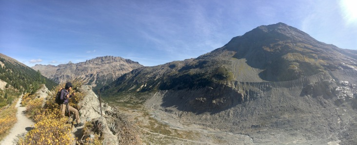 Looking down to moraine and the valley floor