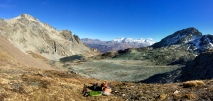 Lunch break with a view of Piz Bernina