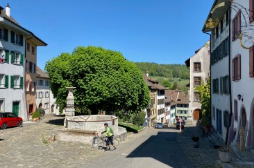 Medieval town center with a large fountain.