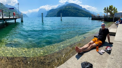Bathing our feet in the cold water at Brunnen