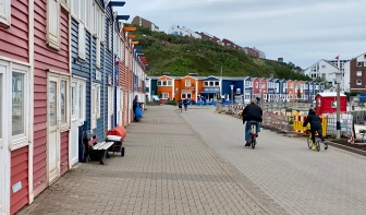 Rows of colorful houses at the port