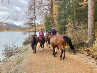 Horse riding at the lakeside